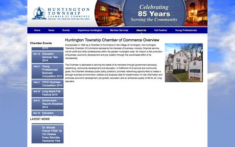 Screenshot of About Page huntingtonchamber.com - Huntington Township Chamber of Commerce Overview - captured Oct. 3, 2014