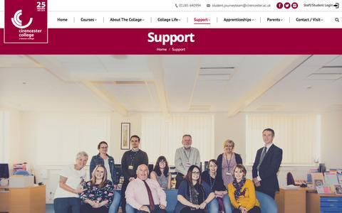 Screenshot of Support Page cirencester.ac.uk - Support – Cirencester College Website - captured Nov. 6, 2016