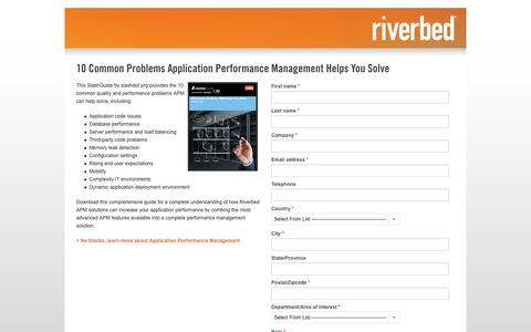 Screenshot of Landing Page riverbed.com - Contact Riverbed | 10 Common Problems Application Performance Management Helps You Solve | Riverbed - captured Oct. 27, 2014