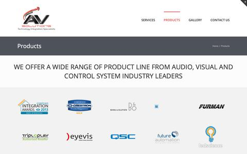 Screenshot of Products Page avsolutionsltd.com - Products – AV Solutions - captured Oct. 2, 2018