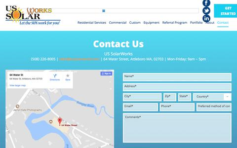 Screenshot of Contact Page ussolarworks.com - Contact – US Solar Works - captured Oct. 20, 2017