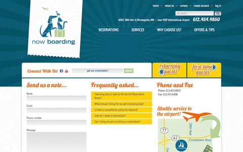 Screenshot of Contact Page nowboardingpets.com - Contact Us   Now Boarding Pets - captured Oct. 1, 2014
