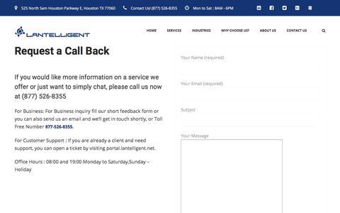 Screenshot of Contact Page lantelligent.net - Contact Lantelligent - Houston's IT Partner - captured July 16, 2018