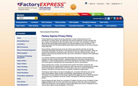 Screenshot of Privacy Page factory-express.com - Terms: Privacy - captured Nov. 6, 2016