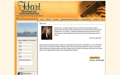 Screenshot of About Page hartreporting.com - About Us | Hart Court Reporting - captured Oct. 2, 2014