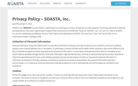 Screenshot of Privacy Page soasta.com - Privacy Policy | SOASTA - captured Dec. 3, 2015
