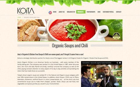 Screenshot of Products Page koita.com - Organic Soups and Chili | Koita - captured Nov. 3, 2014