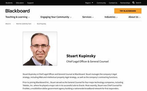 Screenshot of Team Page blackboard.com - Stuart Kupinsky   Blackboard.com - captured Jan. 8, 2020