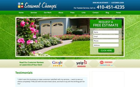 Screenshot of Testimonials Page seasonalchangesinc.com - Testimonials - Seasonal Changes - captured Oct. 27, 2014