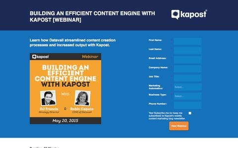 Screenshot of Landing Page kapost.com - Building an Efficient Content Engine with Kapost [WEBINAR] - captured April 4, 2016