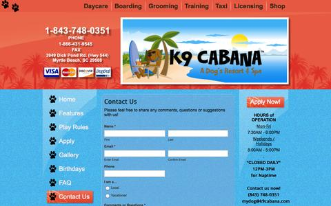 Screenshot of Contact Page k9cabana.com - Contact Us | - captured Oct. 27, 2014