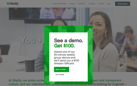 Screenshot of Jobs Page gladly.com - Careers - Gladly - captured July 12, 2019