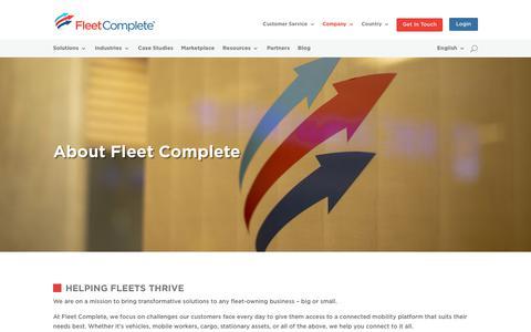 Screenshot of About Page fleetcomplete.com - Helping Fleets Thrive™ | Fleet Complete - captured Nov. 8, 2018