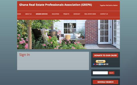 Screenshot of Login Page repagh.org - Sign In | Ghana Real Estate Professionals Association (GREPA) - captured Oct. 2, 2014