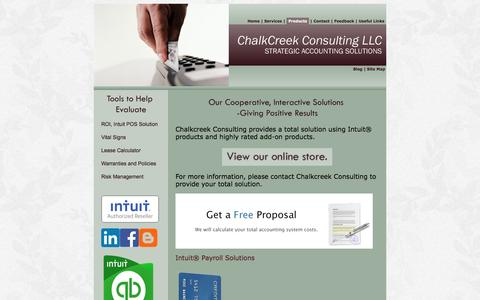 Screenshot of Products Page chalkcreekconsulting.com - Products - captured Nov. 3, 2016
