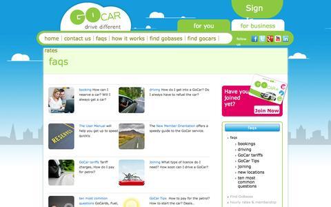 Screenshot of FAQ Page gocar.ie - FAQs about GoCar service - captured Sept. 25, 2014