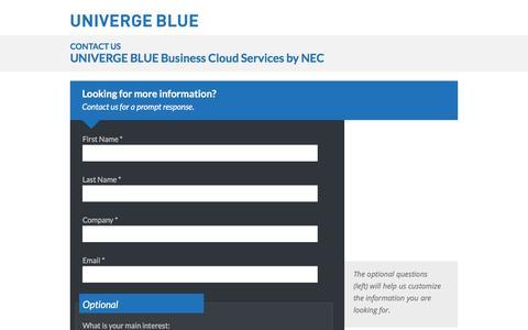 Screenshot of Landing Page univergeblue.com - UNIVERGE BLUE Contact Form - captured Feb. 27, 2016