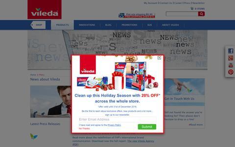 Screenshot of Press Page vileda.com - Press - captured Dec. 25, 2016