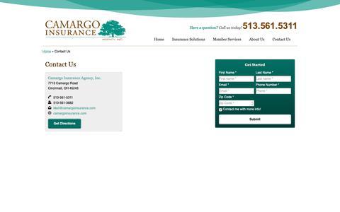 Screenshot of Contact Page camargoinsurance.com - Contact Us   Camargo Insurance Agency Inc. of Cincinnati Ohio - captured Sept. 26, 2018