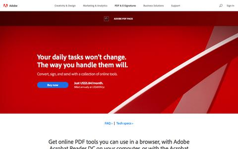 Screenshot of Pricing Page adobe.com - Online PDF converter, convert from web or Acrobat Reader | Adobe PDF Pack - captured June 29, 2018