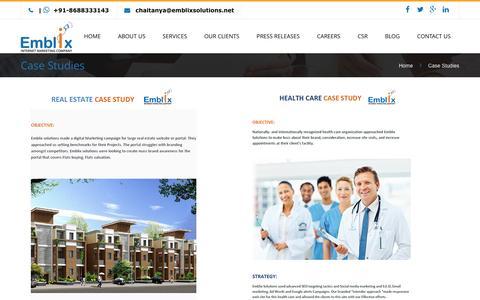 Screenshot of Case Studies Page emblixsolutions.com - Digital markeitng case study | Internet Marketing Company - captured May 17, 2017