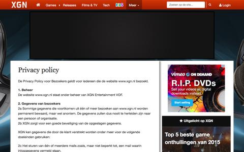 Screenshot of Privacy Page xgn.nl - Privacy policy - captured Dec. 20, 2015