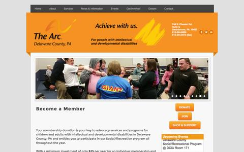 Screenshot of Signup Page thearcofdelco.org - Become a Member - captured Sept. 29, 2016