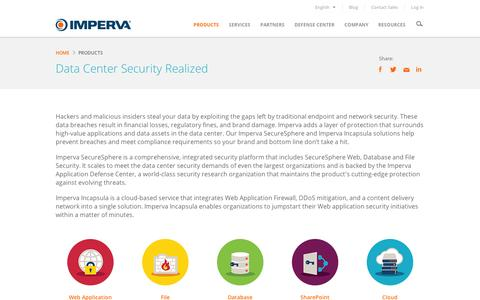 Screenshot of Products Page imperva.com - Data Center Security Realized - Imperva Products Overview - captured Sept. 11, 2014