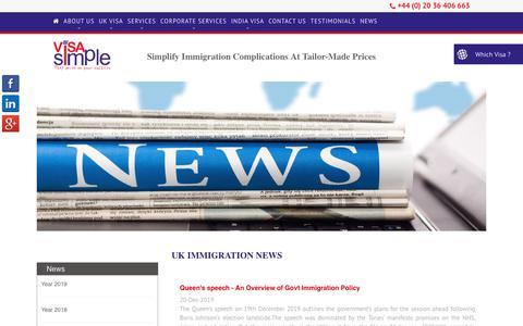 Screenshot of Press Page visasimple.com - UK Immigration News| UK Visa | Visa Simple - captured Dec. 23, 2019
