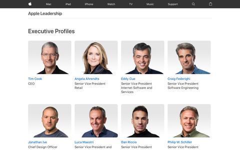 Screenshot of Team Page apple.com - Apple Leadership - Apple - captured May 25, 2017