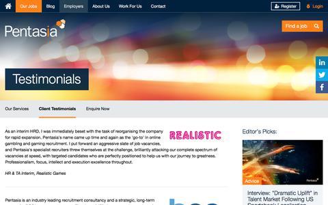 Screenshot of Testimonials Page pentasia.com - Client Testimonials - captured July 17, 2018