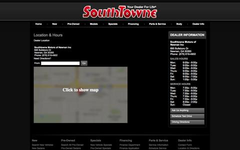 Screenshot of Maps & Directions Page southtowne.com - Hours and Location Southtowne Motors of Newnan Inc-Newnan, GA Buick, Cadillac, Chevrolet, GMC - captured Oct. 6, 2014