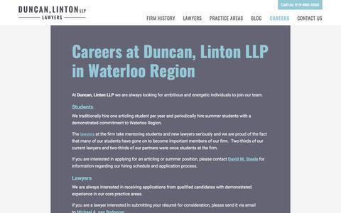 Screenshot of Jobs Page kwlaw.net - Careers at Duncan, Linton LLP – Waterloo, Kitchener, Cambridge - captured Oct. 20, 2017