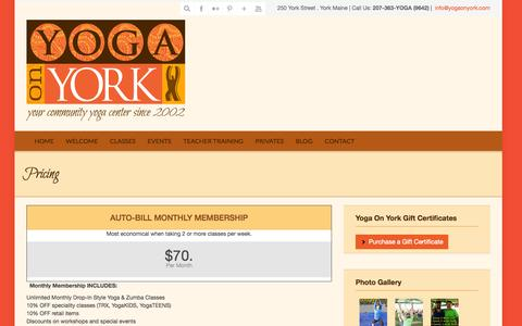 Screenshot of Pricing Page yogaonyork.com - Pricing « Yoga On York - captured Oct. 7, 2014