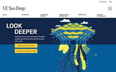 Screenshot of Home Page ucsd.edu - University of California San Diego - captured July 21, 2019