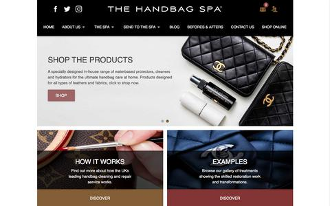 Screenshot of Home Page thehandbagspa.com - The Handbag Spa: Handbag Repair, Restoration and Cleaning UK - captured Oct. 22, 2017