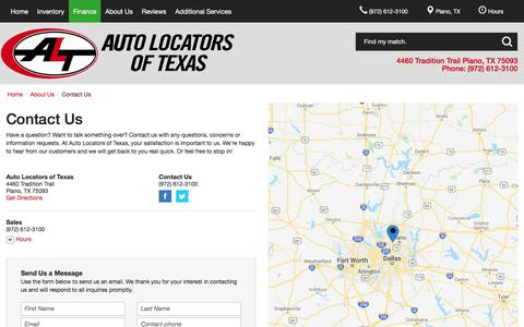 Screenshot of Contact Page Hours Page alttx.com - Contact Auto Locators of Texas in Plano Texas - captured July 1, 2018