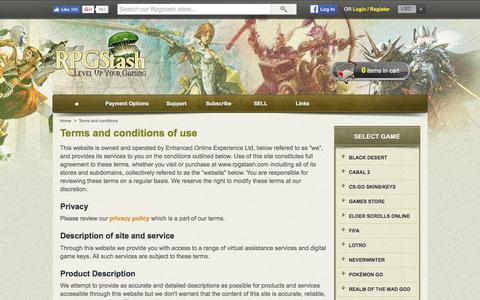 Screenshot of Terms Page rpgstash.com - Terms and conditions - RPGStash - captured Nov. 8, 2016