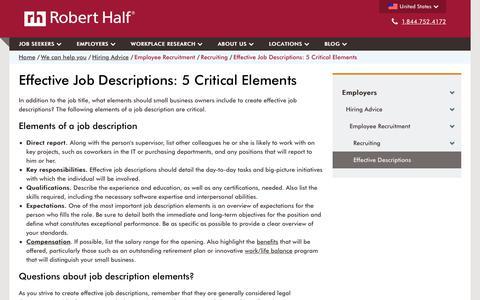 Screenshot of roberthalf.com - Job Description Elements That Will Attract the Right Talent | Robert Half - captured July 9, 2017