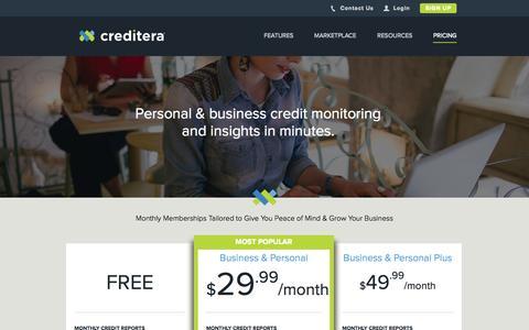 Screenshot of Pricing Page creditera.com - Personal and Business Credit Monitoring Pricing | Creditera - captured Oct. 28, 2014