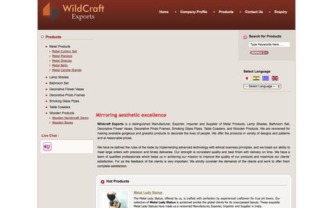 Screenshot of Home Page wildcraftexports.com - Metal Craft Product,Decorative Flower Vases,Table Coasters Manufacturers - captured Oct. 7, 2014