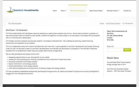 Screenshot of Developers Page cleantechinvestments.co.uk - CleanTech Investments, , For Developers - CleanTech Investments - captured Sept. 29, 2014
