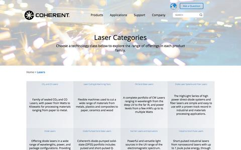 Screenshot of Products Page coherent.com - Lasers | Coherent - captured Aug. 10, 2017