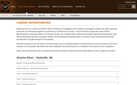 Screenshot of Jobs Page chartersteel.com - Charter Steel - About Our Company / Career Opportunities - captured July 17, 2018