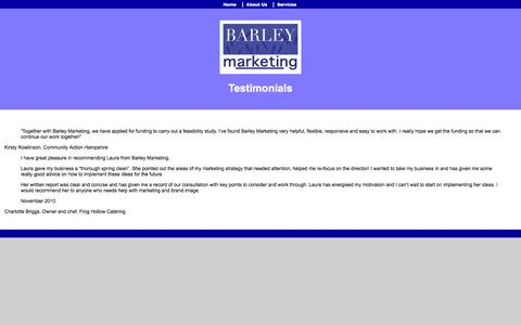 Screenshot of Testimonials Page barleymarketing.co.uk - Testimonials - captured Sept. 30, 2014