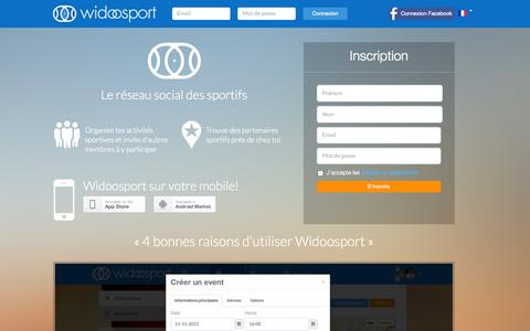 Screenshot of Home Page widoosport.com - Widoosport - Accueil - captured Sept. 30, 2014
