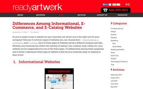 Screenshot of Blog readyartwork.com - Blog | Los Angeles Magento Website Design Developer - captured Sept. 24, 2014