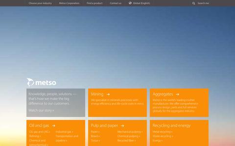 Screenshot of Home Page metso.com - Metso - Metso - captured Jan. 10, 2016