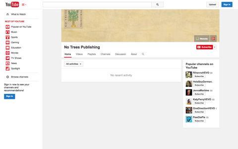 Screenshot of YouTube Page youtube.com - No Trees Publishing  - YouTube - captured Nov. 5, 2014