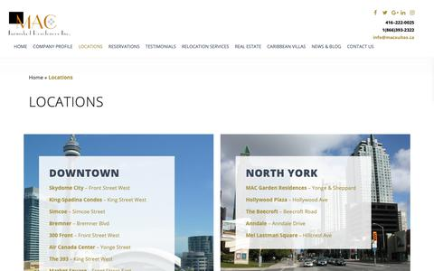 Screenshot of Locations Page macsuites.ca - Corporate Service Apartment in Toronto | Executive Condominiums in Toronto - captured Oct. 1, 2018